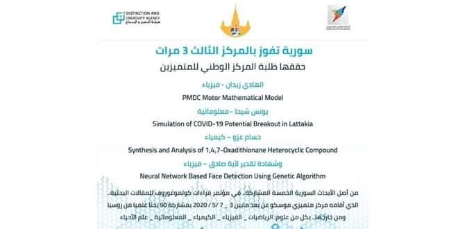 سورية تحرز المركز الثالث في مؤتمر كولموغوروف الروسي للبحث العلمي