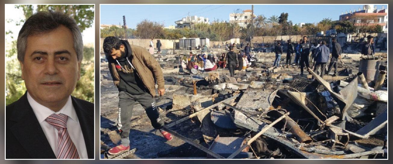 دمشق تأسف بشدة لإحراق مخيم اللاجئين السوريين في «المنية» وتدعوهم للعودة